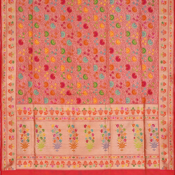 Handwoven Multicoloured Khimkhab Meenakari Banarasi Silk Sari - WIIEDT1152 01 - Full View