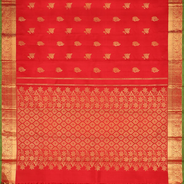 Handwoven Red & Gold Kanjivaram Silk Sari - WIICS020 - Full View