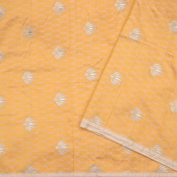 Handwoven Golden Yellow Banarasi Silk Unstitched Fabric - WIIRJ11276050 - Design View