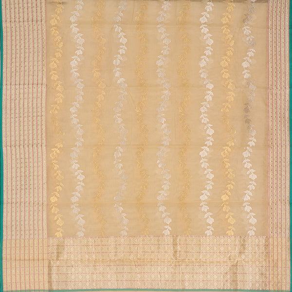 Handwoven Bane Baar Chanderi Silk Sari - WIIHSBH003 - Full View