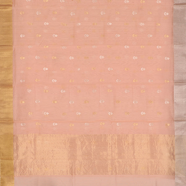 Handwoven Peach Silk Cotton Chanderi Sari - WIIAPRI CWMS 5 - Full View