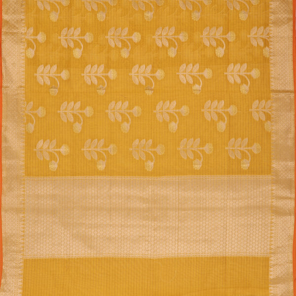 Handwoven Sunshine Yellow Silk Cotton Chanderi Sari - WIISHNIKARIDNAM0101-3 - Full View
