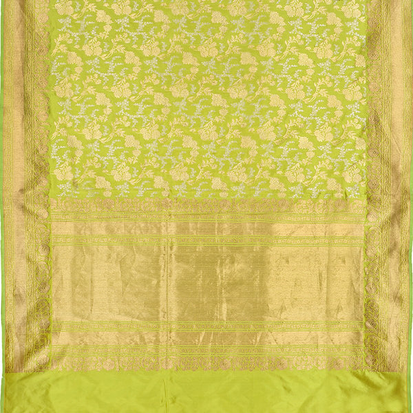 Handwoven Lime Green Banarasi Silk Sari - WIIAM0124 - Full View