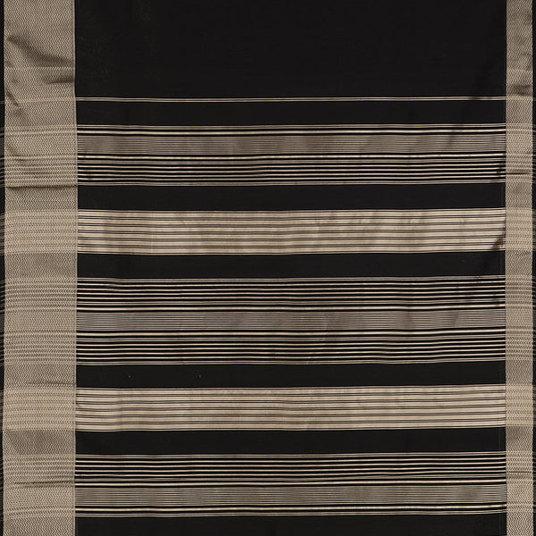 Handwoven Midnight Black Kanjivaram Silk Sari-WIIGS035 - Full View