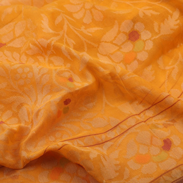 Handwoven Sunset Orange Silk Cotton Jamdani Sari - WIIRJ0147 - Fabric View 2
