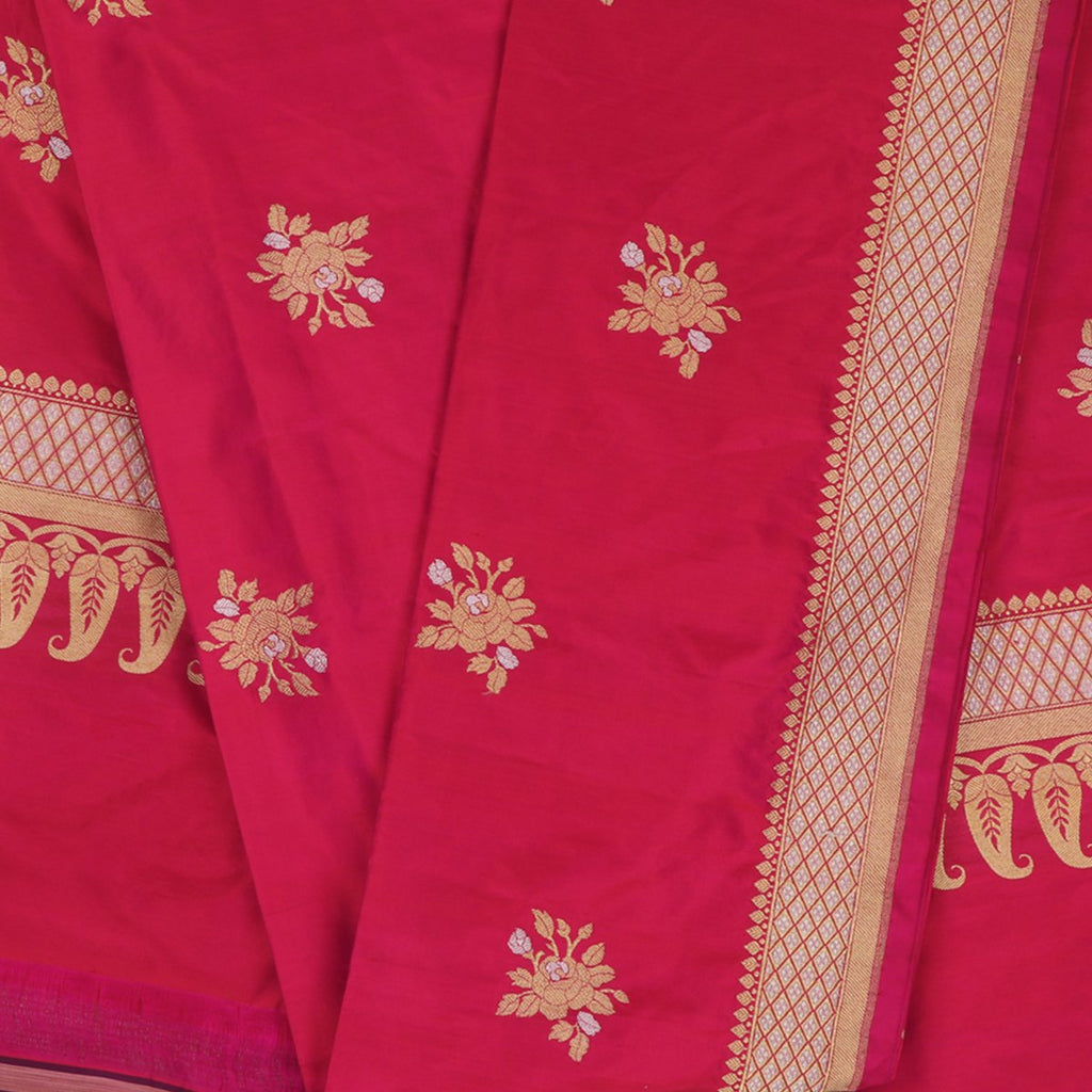 Handwoven Cherry Red Banarasi Katan Silk Dupatta -WIIAM0127(5) - Full View