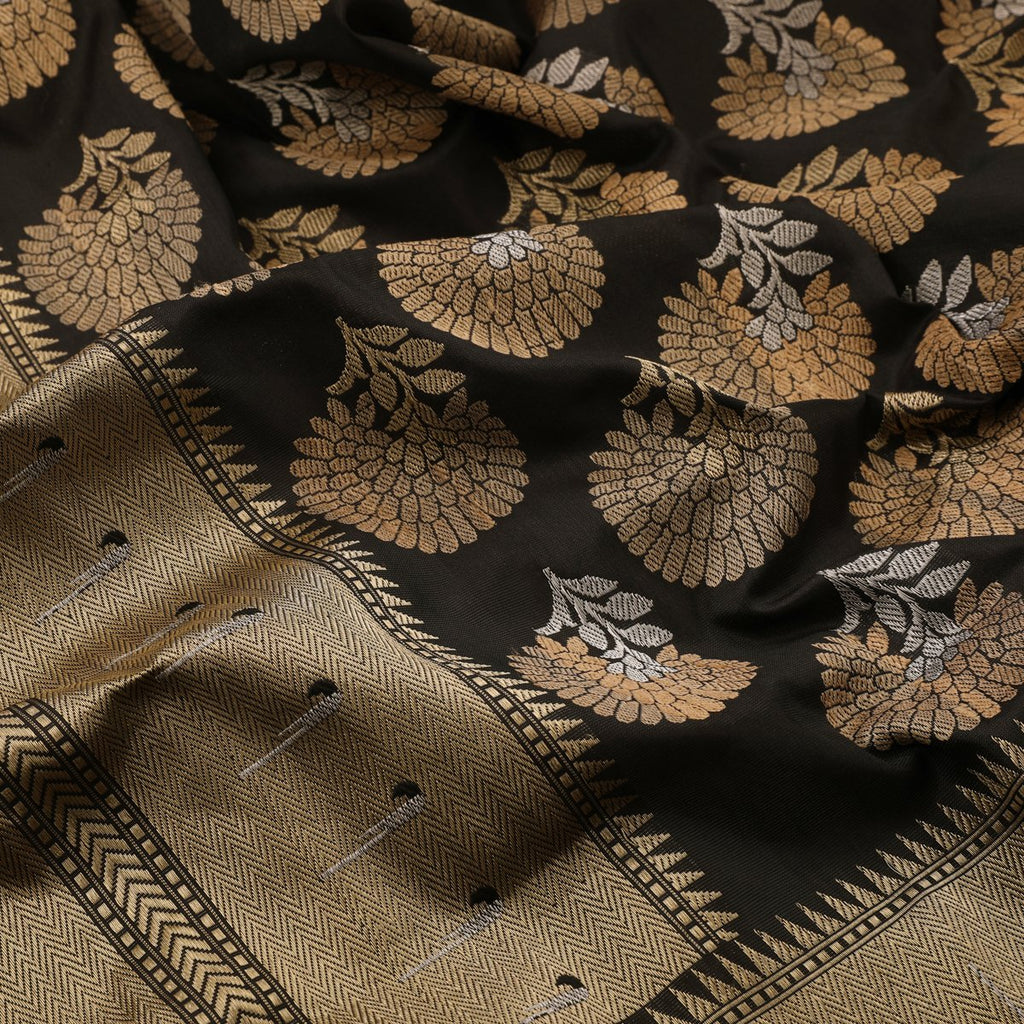 Handwoven Black Banarasi Katan Silk Sari - WIIEDT2835 009 - Fabric View 2