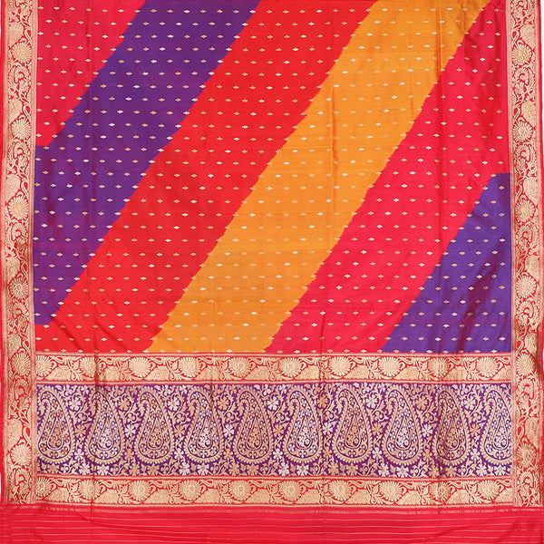 Handwoven Multicolour Banarasi Silk Sari - WIIBT0038 - Full View