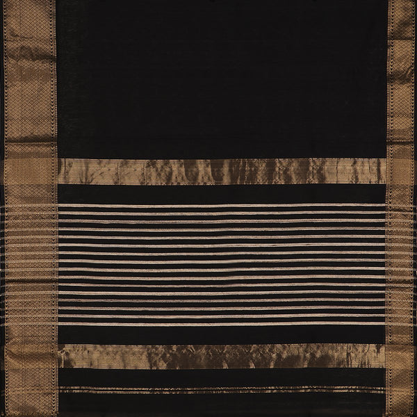 Handwoven Black Maheshwari Silk Cotton Sari-WIIGS034- Full View