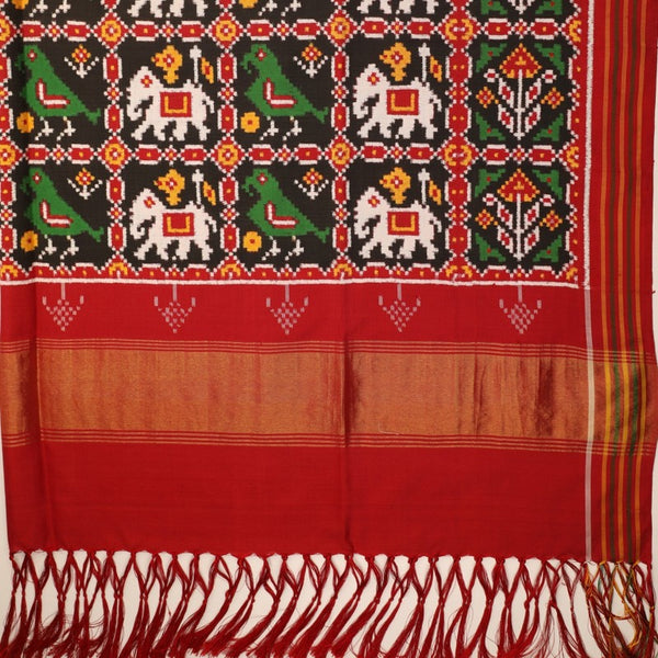 Handwoven Red Double Ikat Patan Patola Vohra Gaji Silk Sari - WIIPP040(4) - Full View