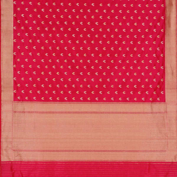 Handwoven Crimson Red Banarasi Silk Sari - WIIBT0087 - Full View