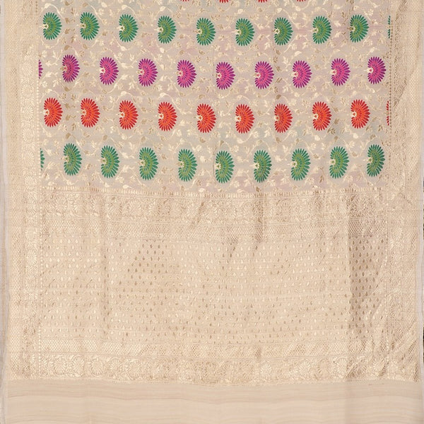 Handwoven Off White Banarasi Georgette Silk Sari - WIISHNIKARIDNAM0110 - Full View