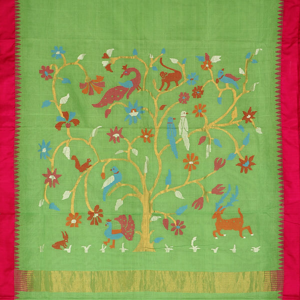 Handwoven Parrot Green Jamdani Cotton Silk Sari - WIIGS015 - Full View
