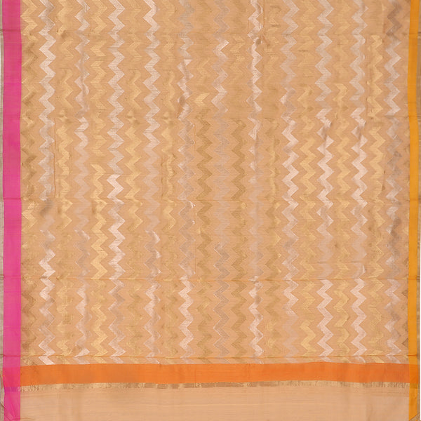 Handwoven Peach Silk Cotton Chanderi Sari - WIIAPRI CFJS(5) - Full View
