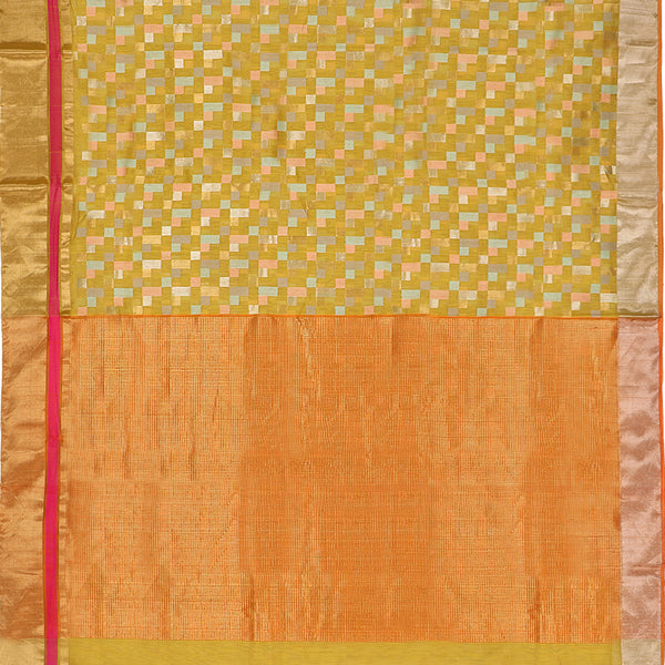 Handwoven Mustard Silk Cotton Chanderi Sari - WIIAPRI CFJS(3) - Full View