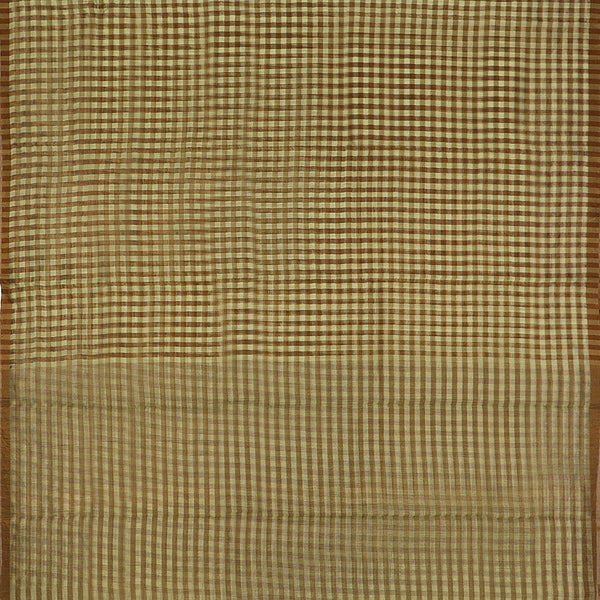 Handwoven Pista Green And Brown Checks Silk Cotton Chanderi Sari - WIIAPRI CTSR0002 - Full View
