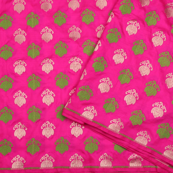 Handwoven Rani Pink Banarasi Silk Unstitched Fabric - WIIRJ0091 - Design View
