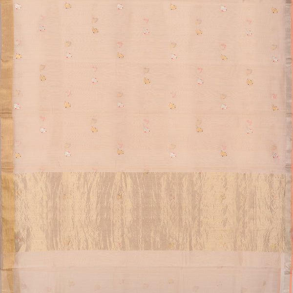 Handwoven Peach Silk Cotton Chanderi Sari - WIIAPRI CEBS -1 - Full View