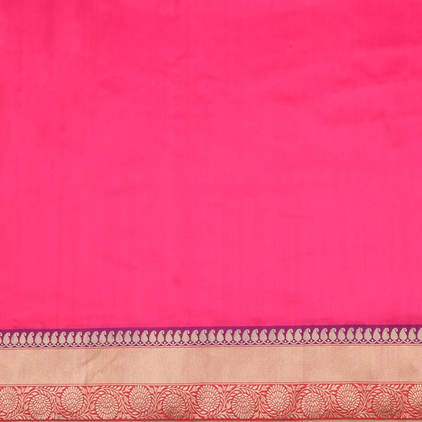 Handwoven Rani Pink Banarasi Border Unstitched Silk Fabric - WIIRJ11271012 - Full View