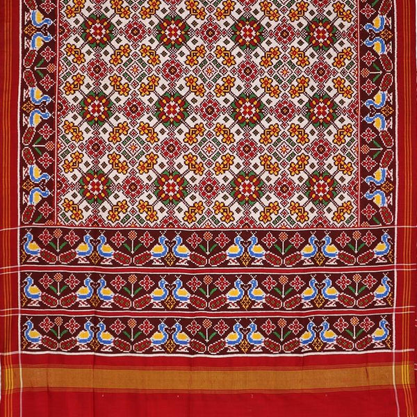 Handwoven Madder Red and White Navaratna Patan Patola Sari - WIITNKP007 - Full View