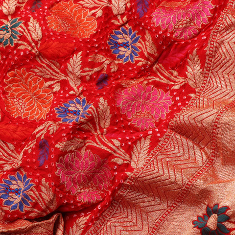 Handwoven Chilli Red Bandhini Silk Georgette Dupatta - PREBDNDUP002- Fabric View