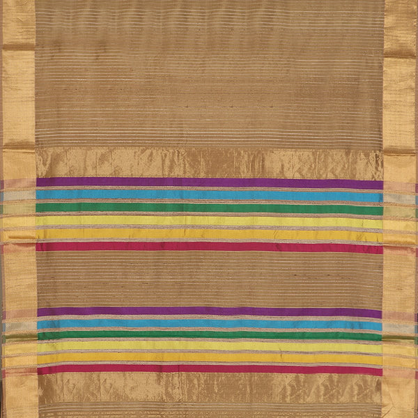 Handwoven Greenish Cream Textured Maheshwari Silk Cotton Sari-WIIGS038- Full View