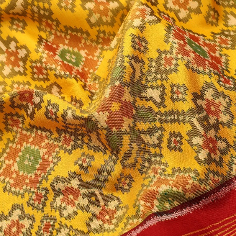 Handwoven Sunshine Yellow Rajkot Single lkat Patola Silk Sari - WIIPATANARIDNAM921118 - Fabric View