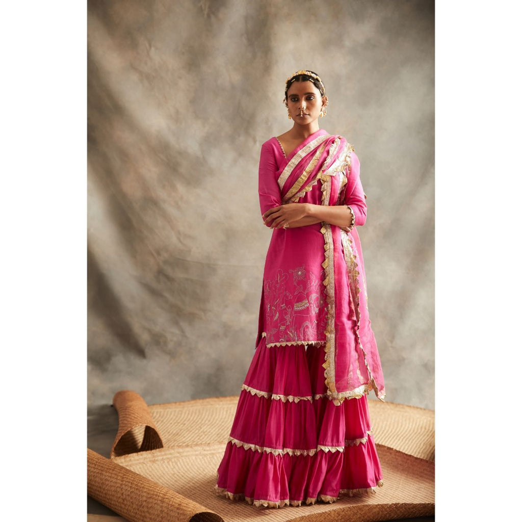 ITRH Pink Sharara Suit Set - WeaveinIndia