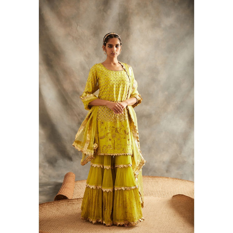 ITRH Yellow Sharara Set - WeaveinIndia