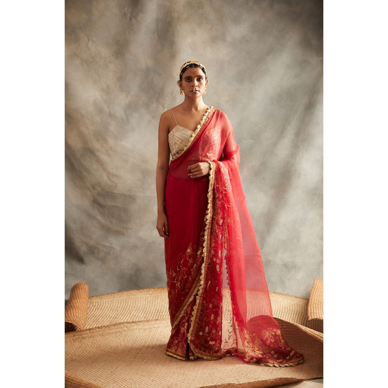 ITRH Red Organza Mukaish Saree - WeaveinIndia