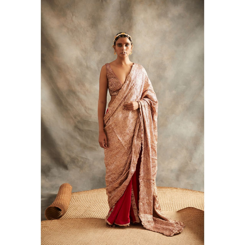 Red Lampi Saree - WeaveinIndia
