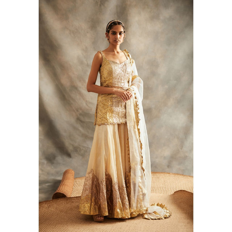 ITRH Beige and Gold Suit Set - WeaveinIndia
