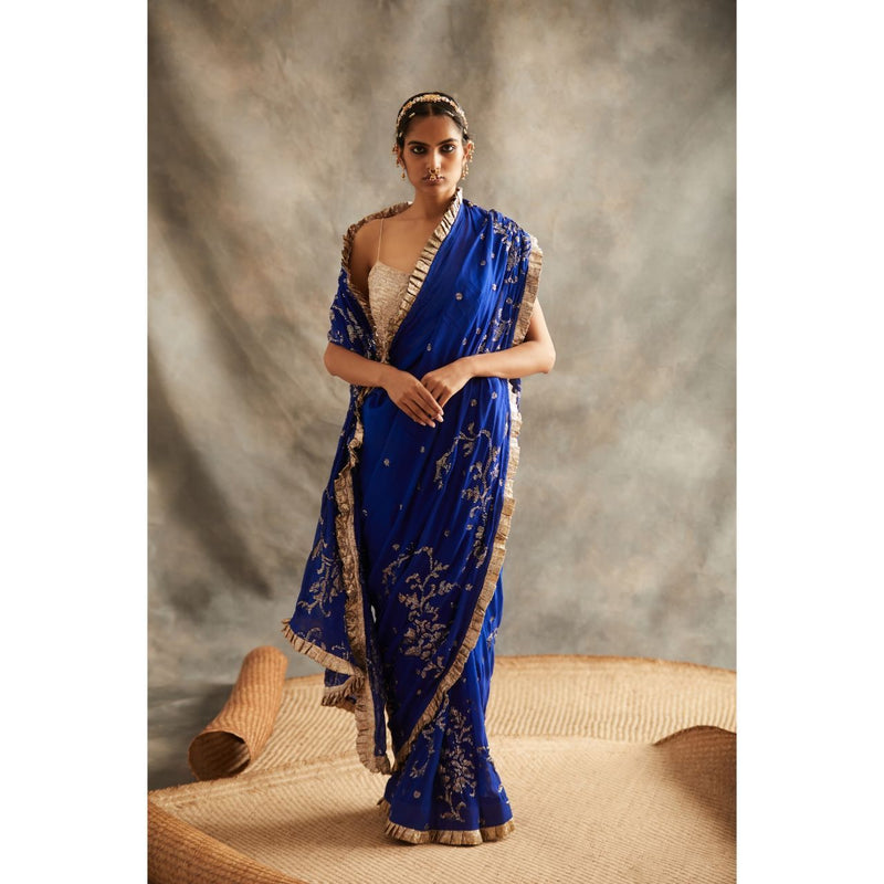 ITRH Royal Blue Organza Saree - WeaveinIndia