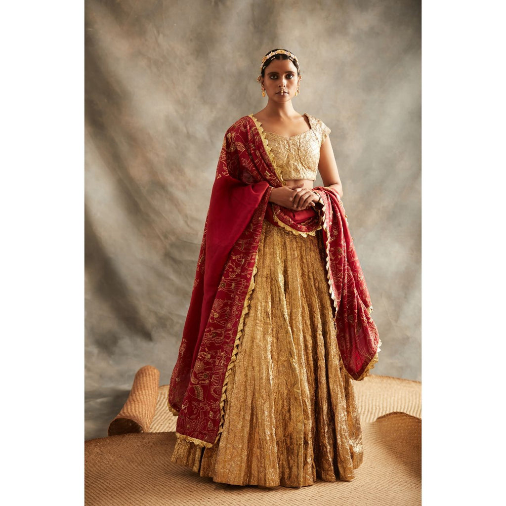ITRH Gold and Silver Lehenga Set - WeaveinIndia