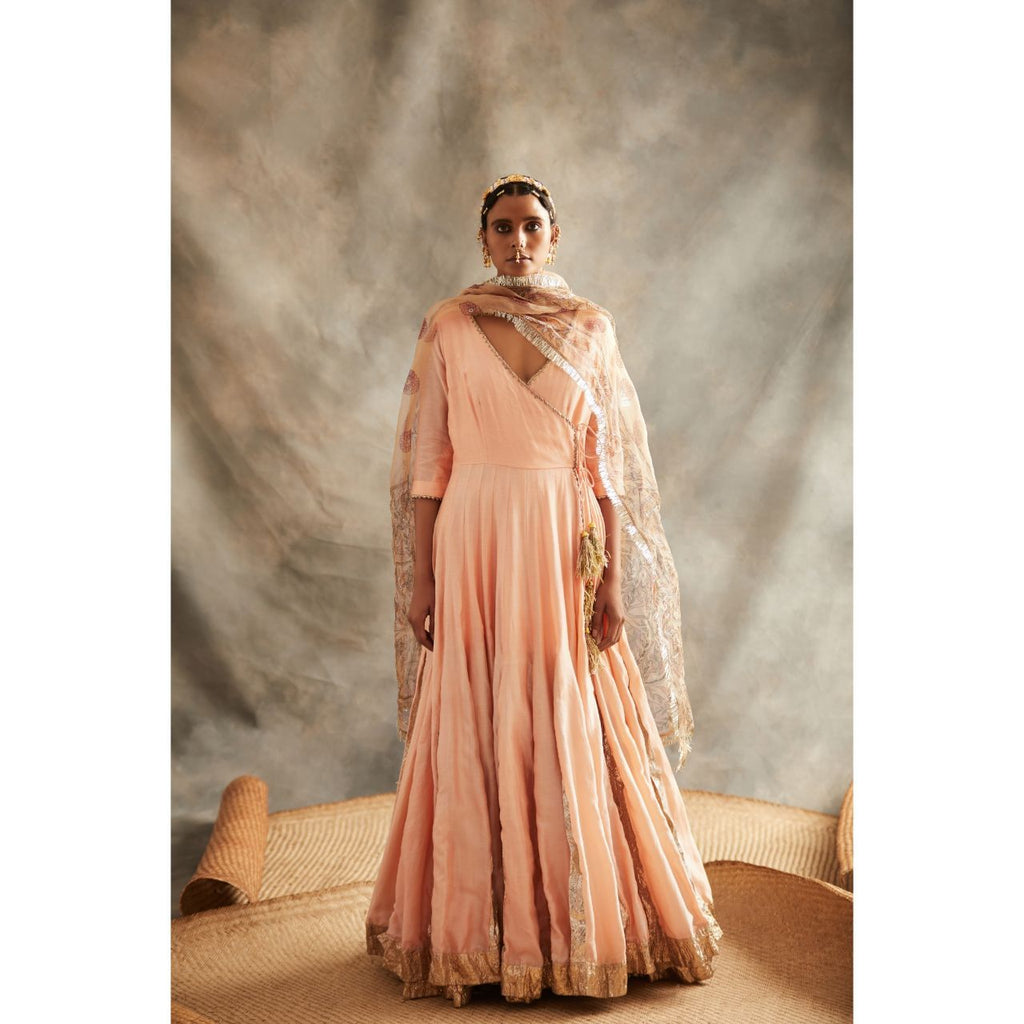 Peach Angrakha Dress - WeaveinIndia