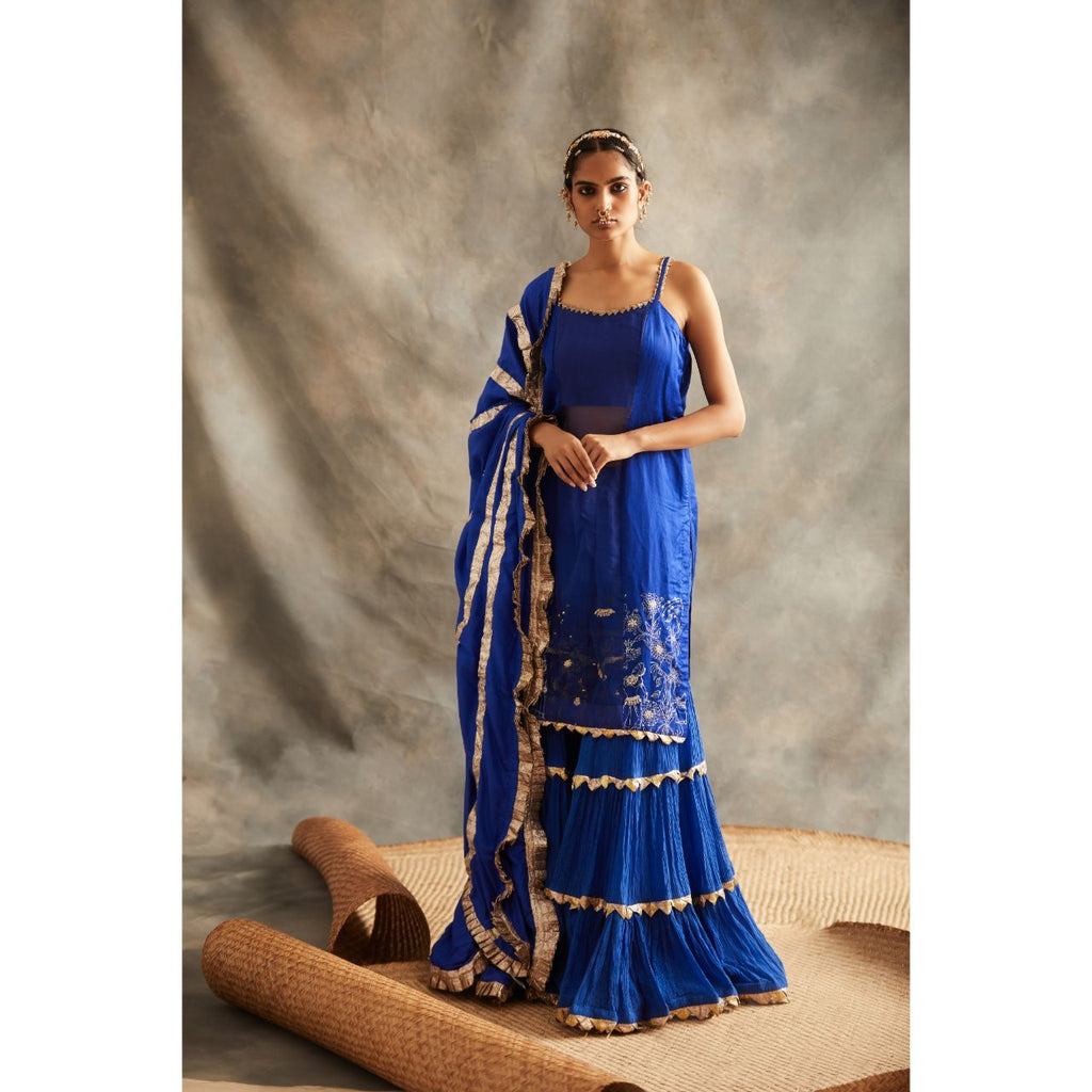 ITRH Navy Blue Sharara Suit Set - WeaveinIndia