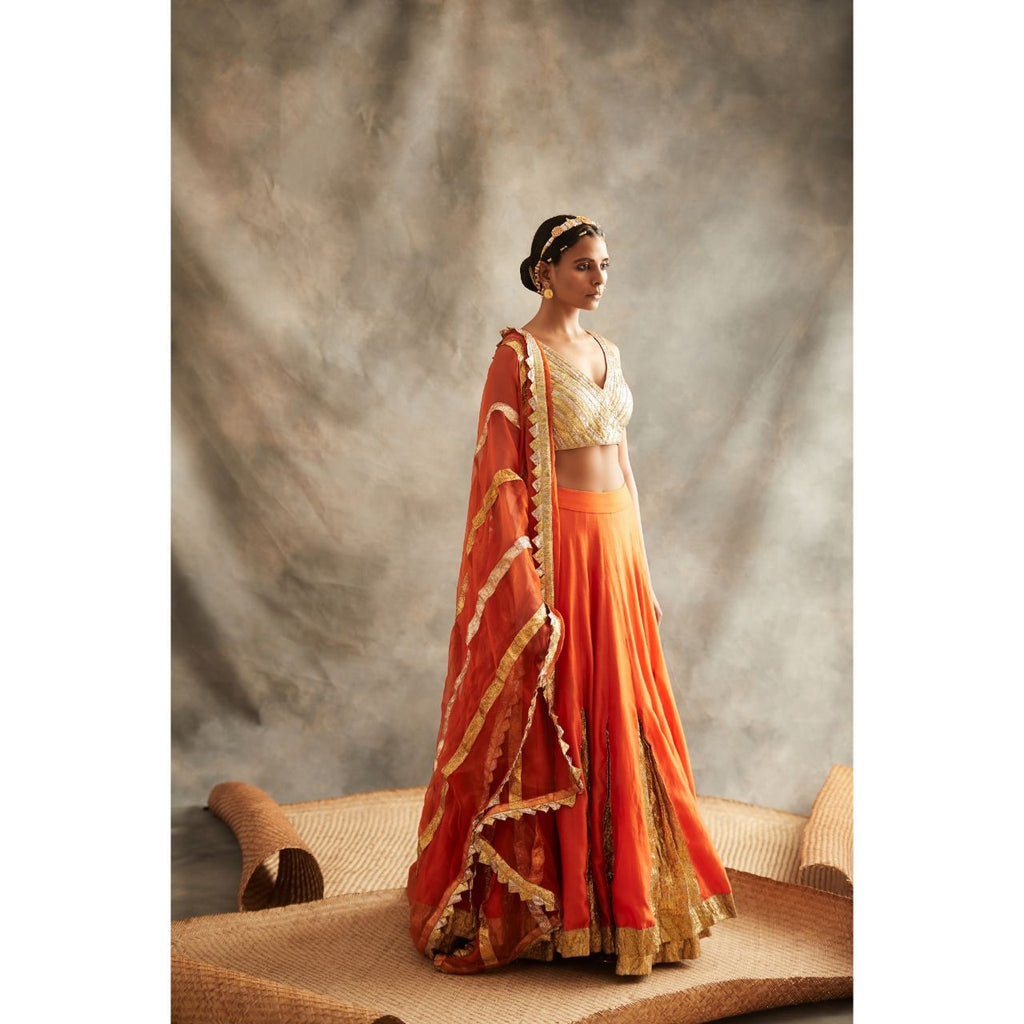ITRH Orange Lehenga Set - WeaveinIndia