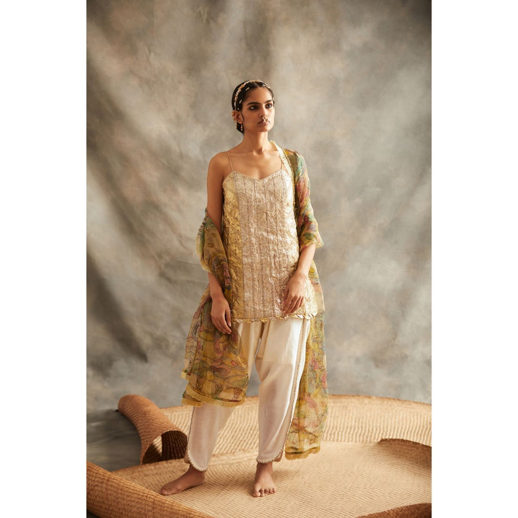 ITRH Gold and Silver Suit Set - WeaveinIndia