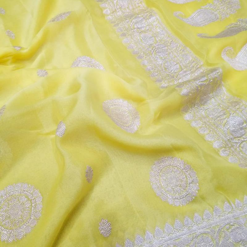 Canary Yellow Khaddi Georgette Silk Saree