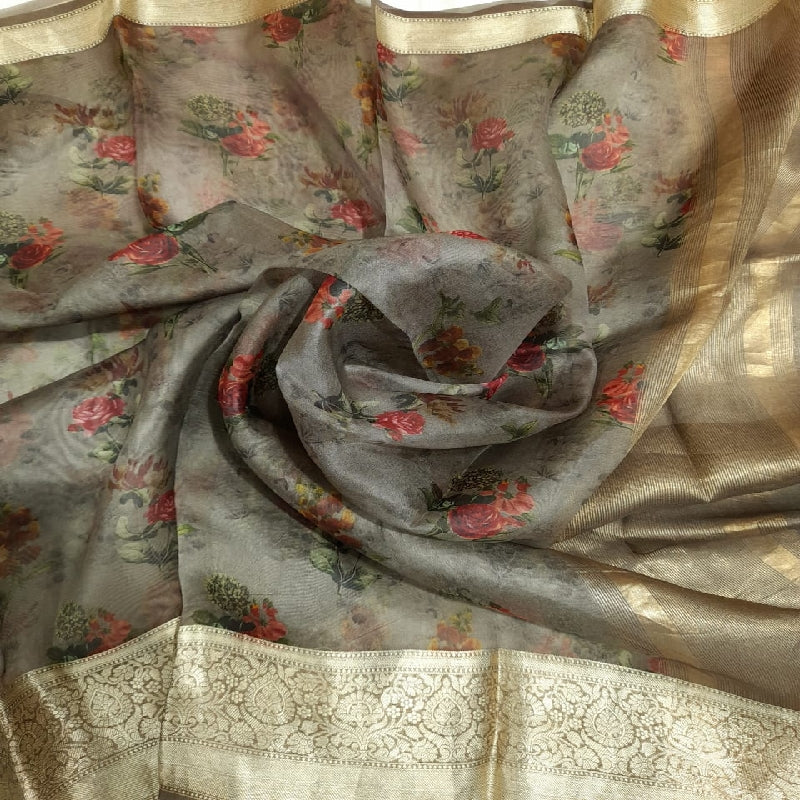 Beige Grey Digital Printed Organza Dupatta