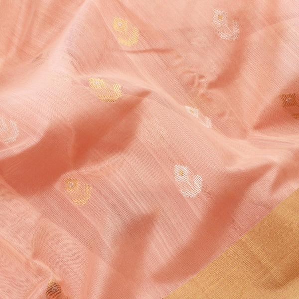 Handwoven Peach Silk Cotton Chanderi Sari - WIIAPRI CWMS 5 - Fabric View