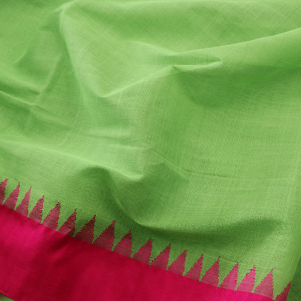 Handwoven Parrot Green Jamdani Cotton Silk Sari - WIIGS015 - Fabric View 2