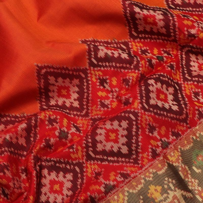 Orange and Red Single Ikat Patola Saree