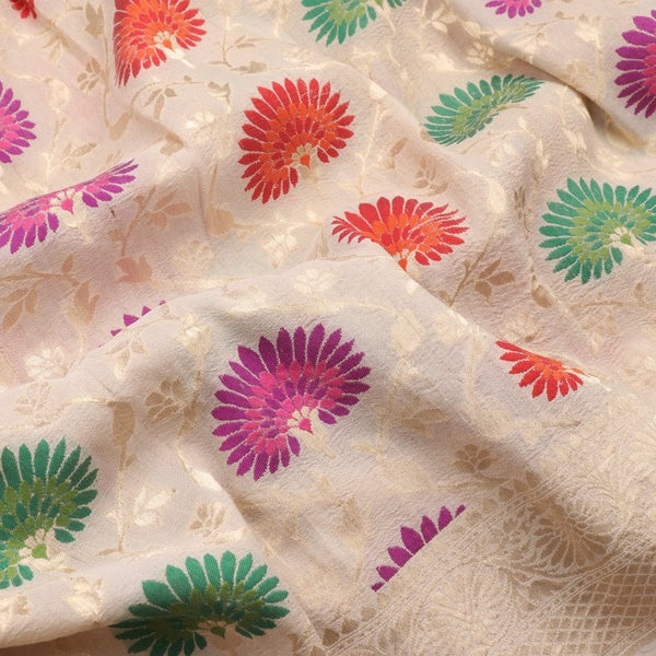 Handwoven Off White Banarasi Georgette Silk Sari - WIISHNIKARIDNAM0110 - Design View