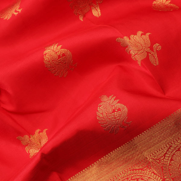 Handwoven Red & Gold Kanjivaram Silk Sari - WIICS020 - Design View