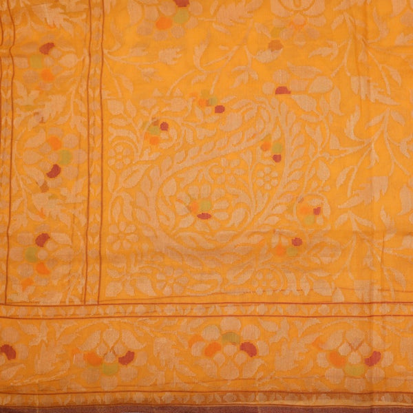 Handwoven Sunset Orange Silk Cotton Jamdani Sari - WIIRJ0147 - Full View