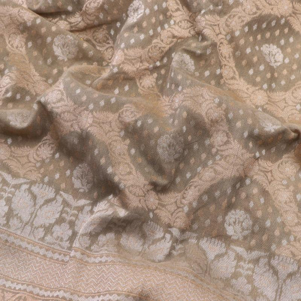 Handwoven Sand Banaras Muslin Cotton Sari-WIIGS046 - Design View