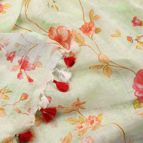 Handwoven Mint And Rose Vines Printed Linen Sari - WIIATY019 - Design View
