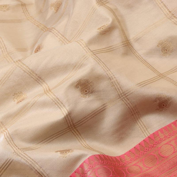 Handwoven Ecru Silk Cotton Chanderi Sari - WIISHNIKARIDNAM0100-4 - Motif View