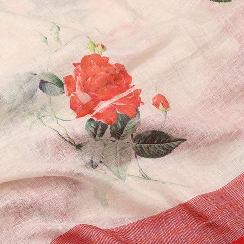 Handwoven Cream And Red Printed Linen Sari - WIIATY014 -Fabric View